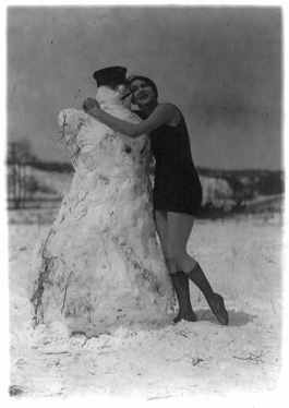 Woman in bathing suit hugging a snowman - 1924 (from Library of Congress)